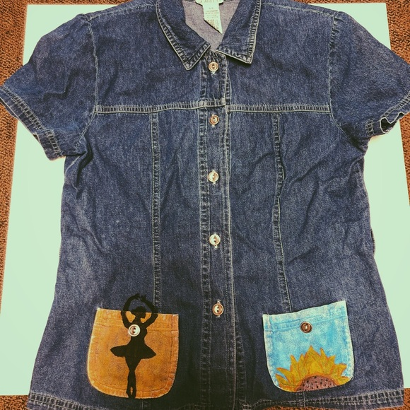 Tops - Custom painted jean button up shirt!